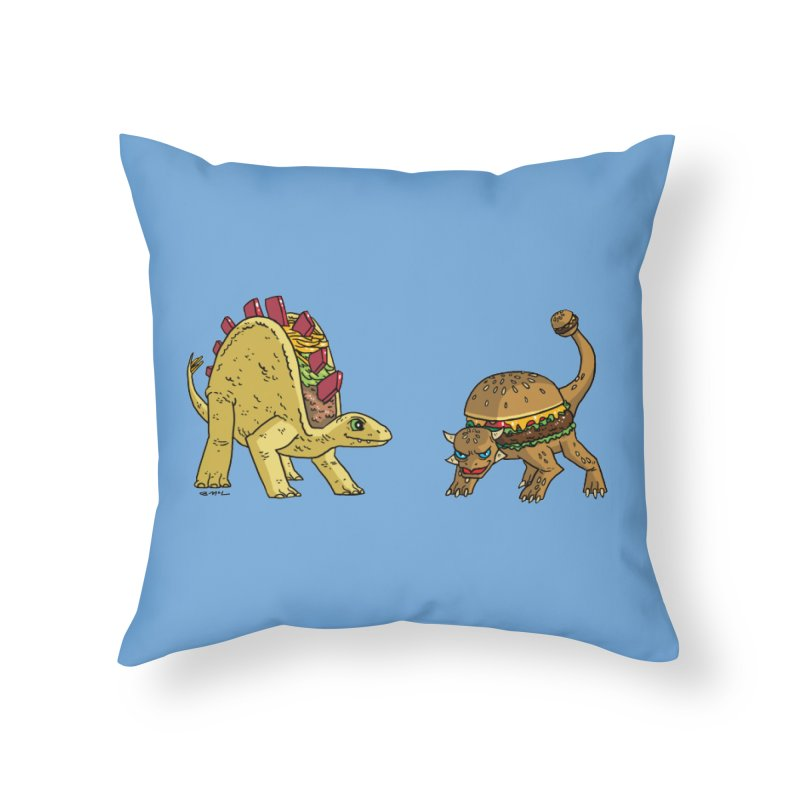 Taco and Burgersaurus Home Throw Pillow by brianmcl's Artist Shop