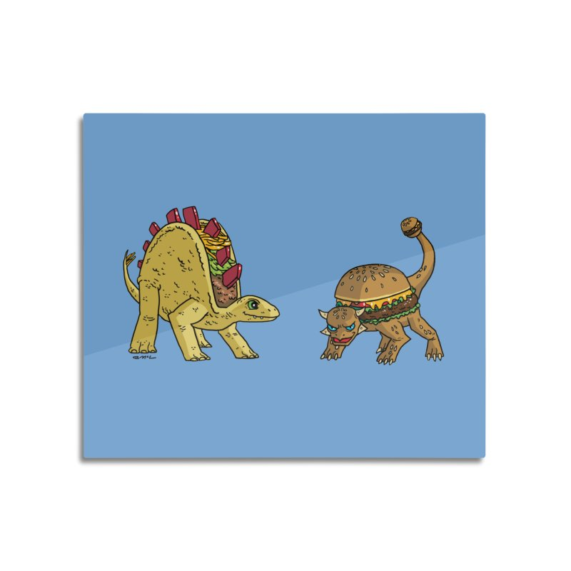 Taco and Burgersaurus Home Mounted Aluminum Print by brianmcl's Artist Shop
