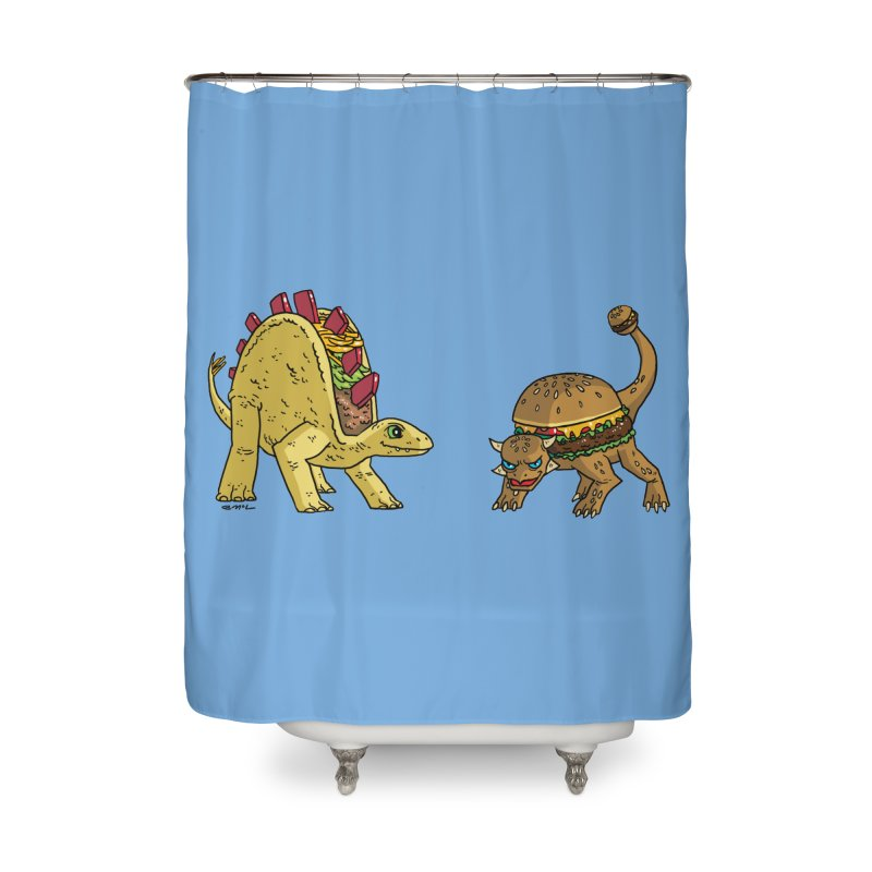 Taco and Burgersaurus Home Shower Curtain by brianmcl's Artist Shop