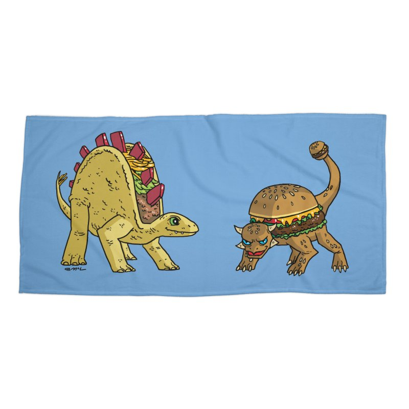 Taco and Burgersaurus Accessories Beach Towel by brianmcl's Artist Shop