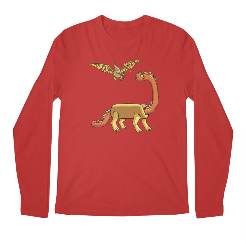 Brontodog and Pizzadactyl Men's Regular Longsleeve T-Shirt by brianmcl's Artist Shop