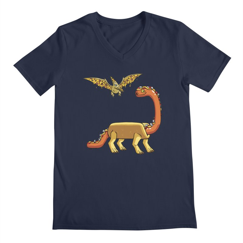 Brontodog and Pizzadactyl Men's Regular V-Neck by brianmcl's Artist Shop
