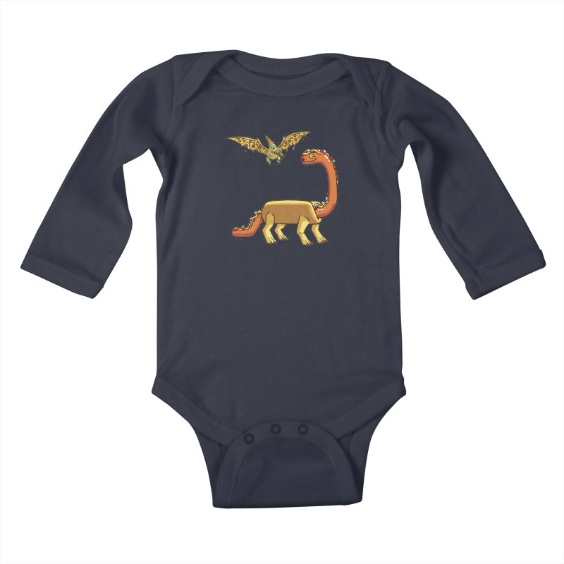 Brontodog and Pizzadactyl Kids Baby Longsleeve Bodysuit by brianmcl's Artist Shop