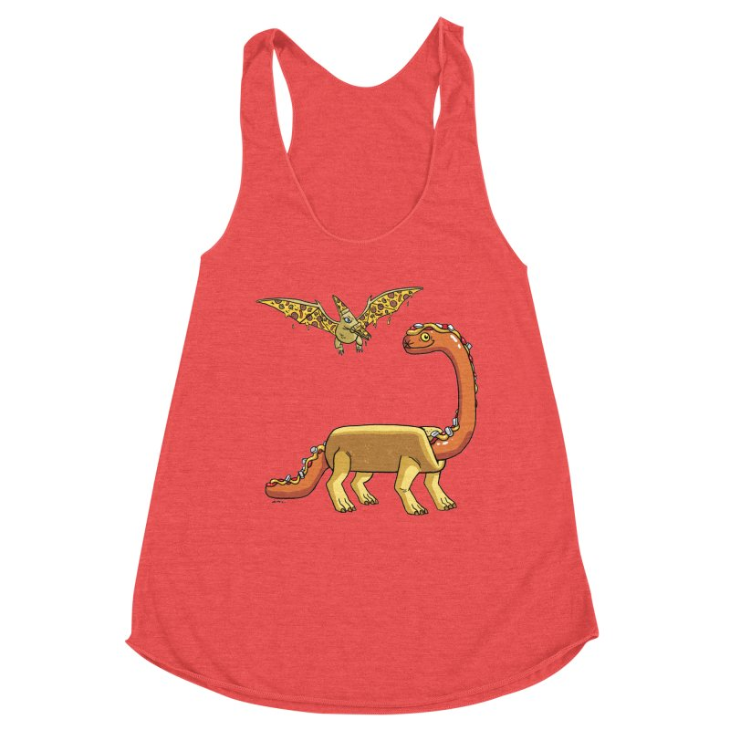 Brontodog and Pizzadactyl Women's Racerback Triblend Tank by brianmcl's Artist Shop