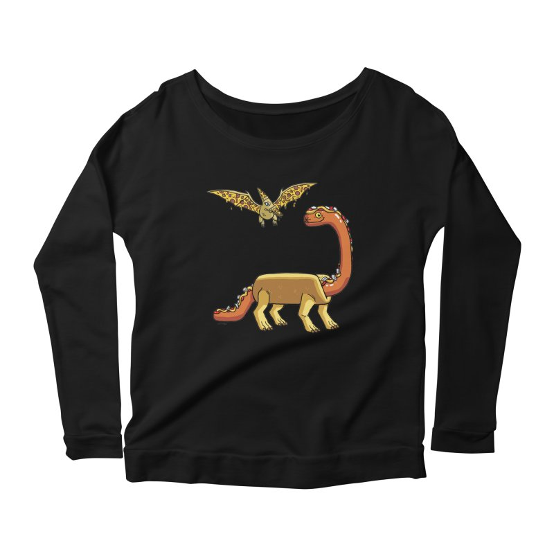 Brontodog and Pizzadactyl Women's Scoop Neck Longsleeve T-Shirt by brianmcl's Artist Shop
