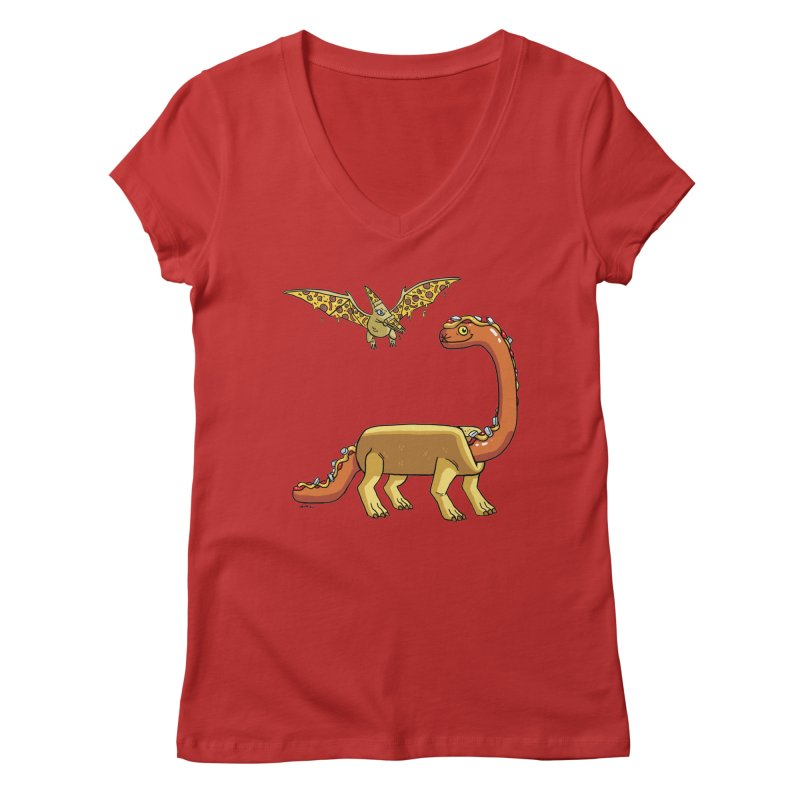 Brontodog and Pizzadactyl Women's Regular V-Neck by brianmcl's Artist Shop