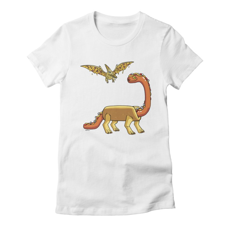 Brontodog and Pizzadactyl Women's Fitted T-Shirt by brianmcl's Artist Shop
