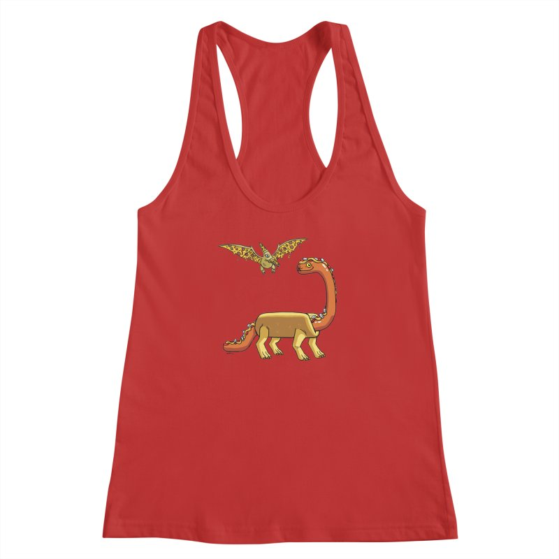Brontodog and Pizzadactyl Women's Racerback Tank by brianmcl's Artist Shop