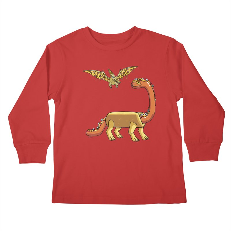 Brontodog and Pizzadactyl Kids Longsleeve T-Shirt by brianmcl's Artist Shop