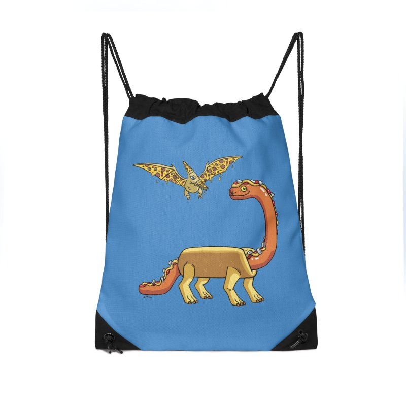 Brontodog and Pizzadactyl Accessories Drawstring Bag Bag by brianmcl's Artist Shop