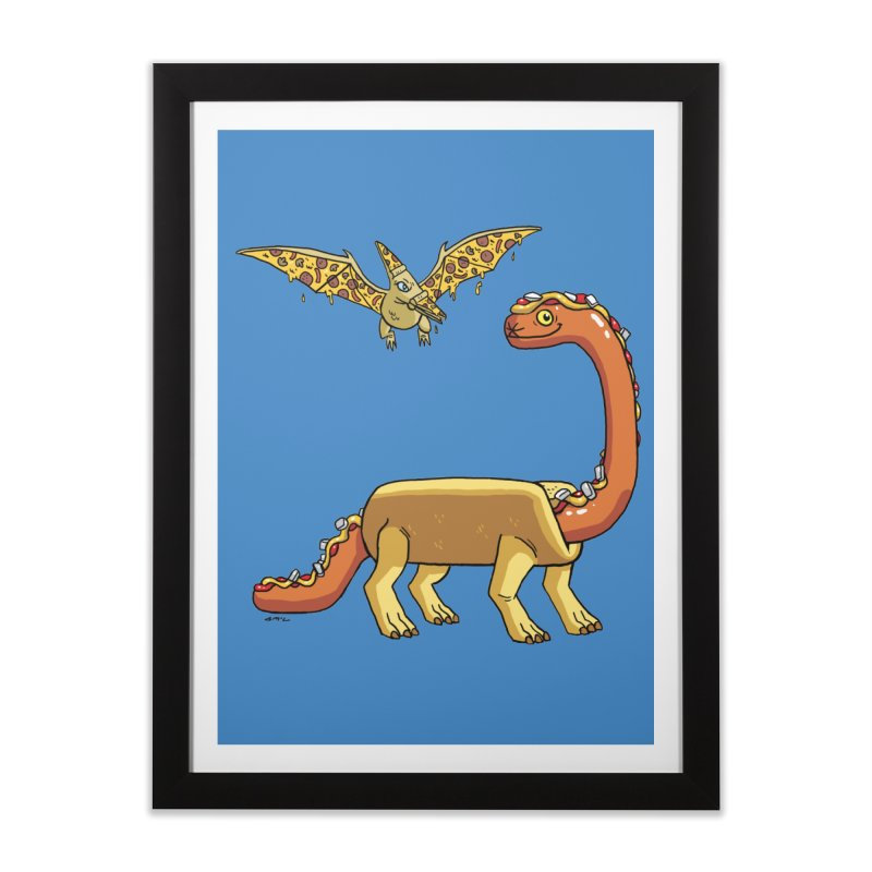 Brontodog and Pizzadactyl Home Framed Fine Art Print by brianmcl's Artist Shop