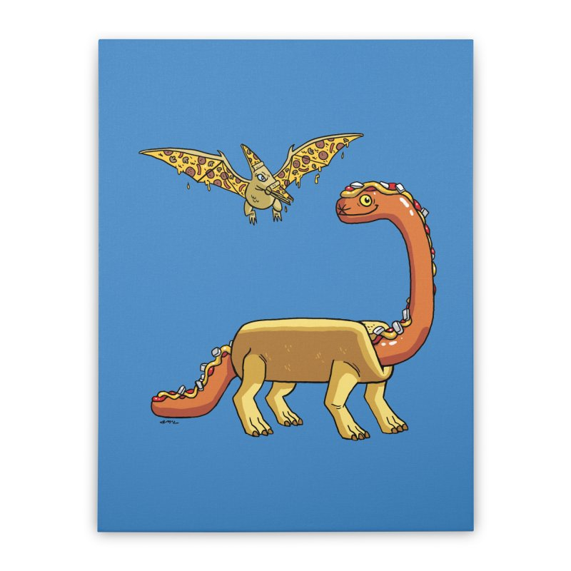 Brontodog and Pizzadactyl Home Stretched Canvas by brianmcl's Artist Shop