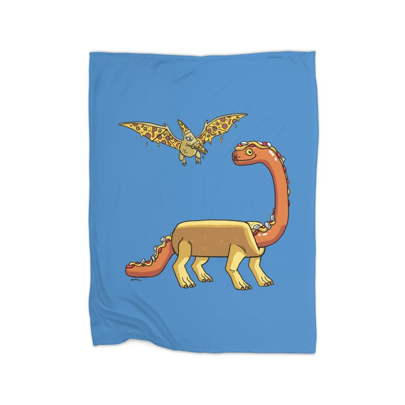 Brontodog and Pizzadactyl Home Fleece Blanket Blanket by brianmcl's Artist Shop