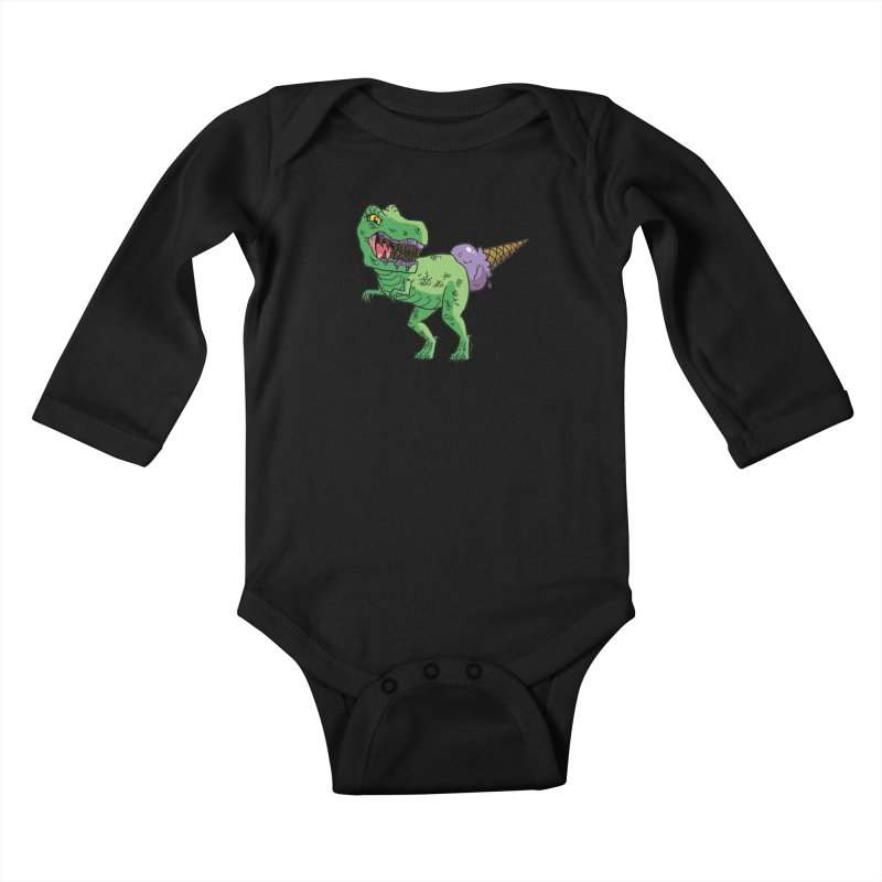 Ice Cream Rex Kids Baby Longsleeve Bodysuit by brianmcl's Artist Shop
