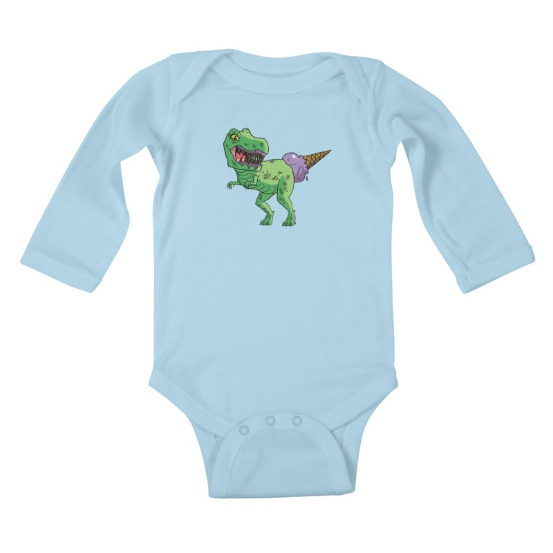 Ice Cream Rex Kids Baby Longsleeve Bodysuit by brianmcl's Artist Shop