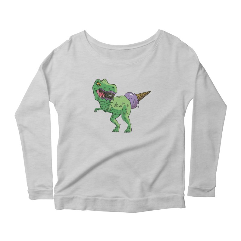 Ice Cream Rex Women's Scoop Neck Longsleeve T-Shirt by brianmcl's Artist Shop