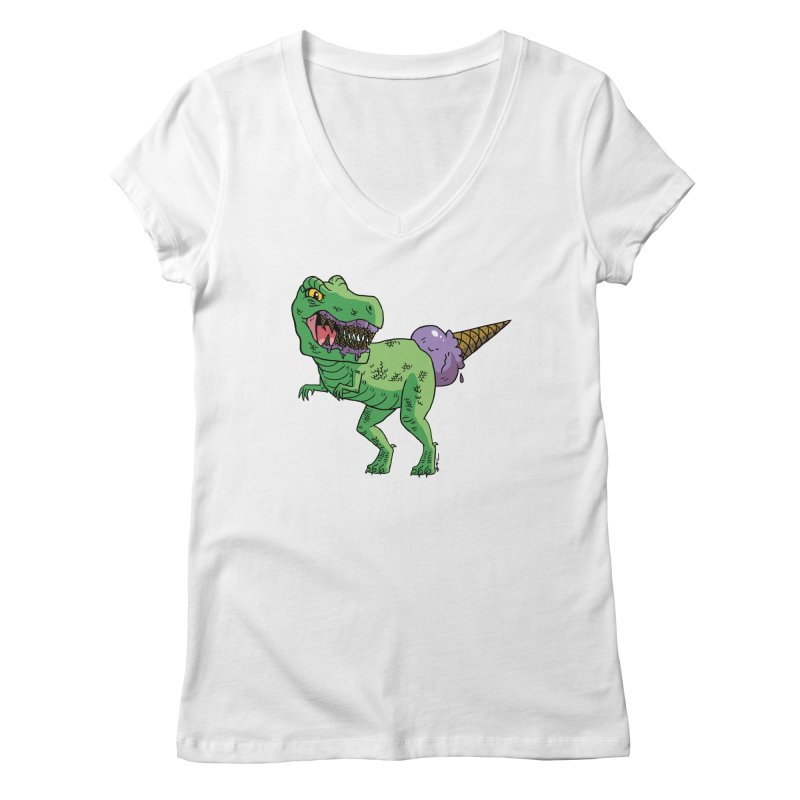 Ice Cream Rex Women's Regular V-Neck by brianmcl's Artist Shop