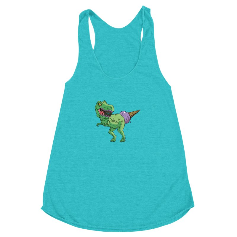 Ice Cream Rex Women's Racerback Triblend Tank by brianmcl's Artist Shop