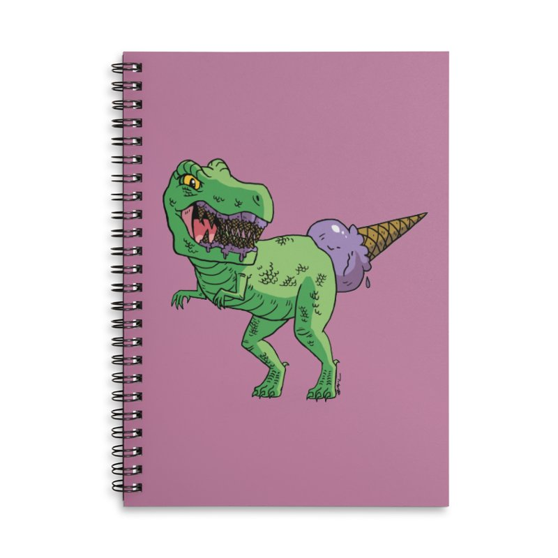 Ice Cream Rex Accessories Lined Spiral Notebook by brianmcl's Artist Shop