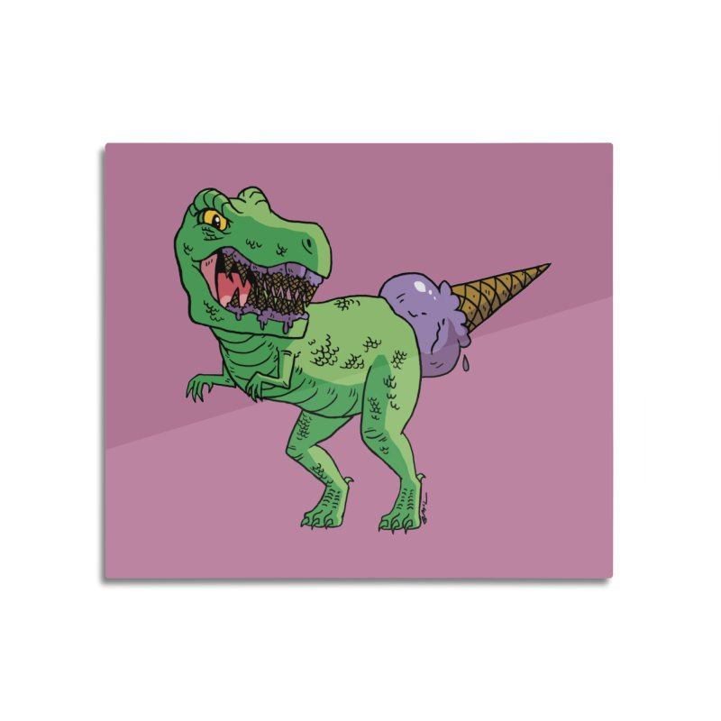 Ice Cream Rex Home Mounted Aluminum Print by brianmcl's Artist Shop