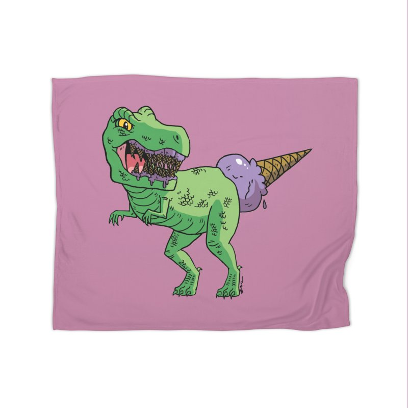 Ice Cream Rex Home Fleece Blanket Blanket by brianmcl's Artist Shop