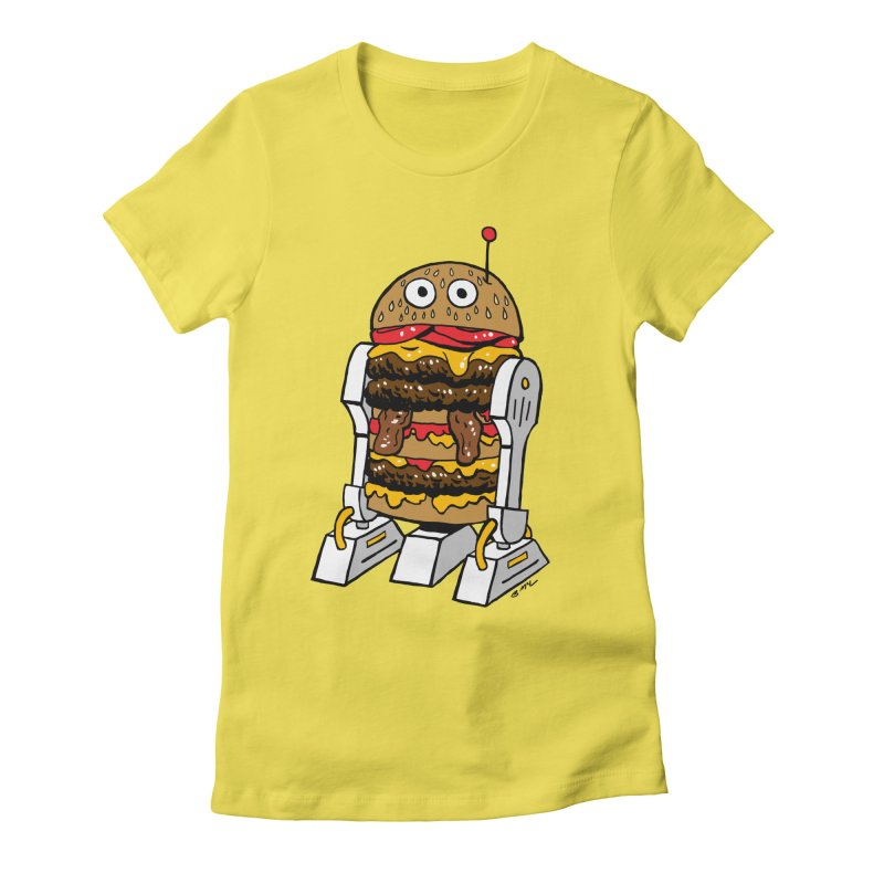 Burgerbot Women's Fitted T-Shirt by brianmcl's Artist Shop