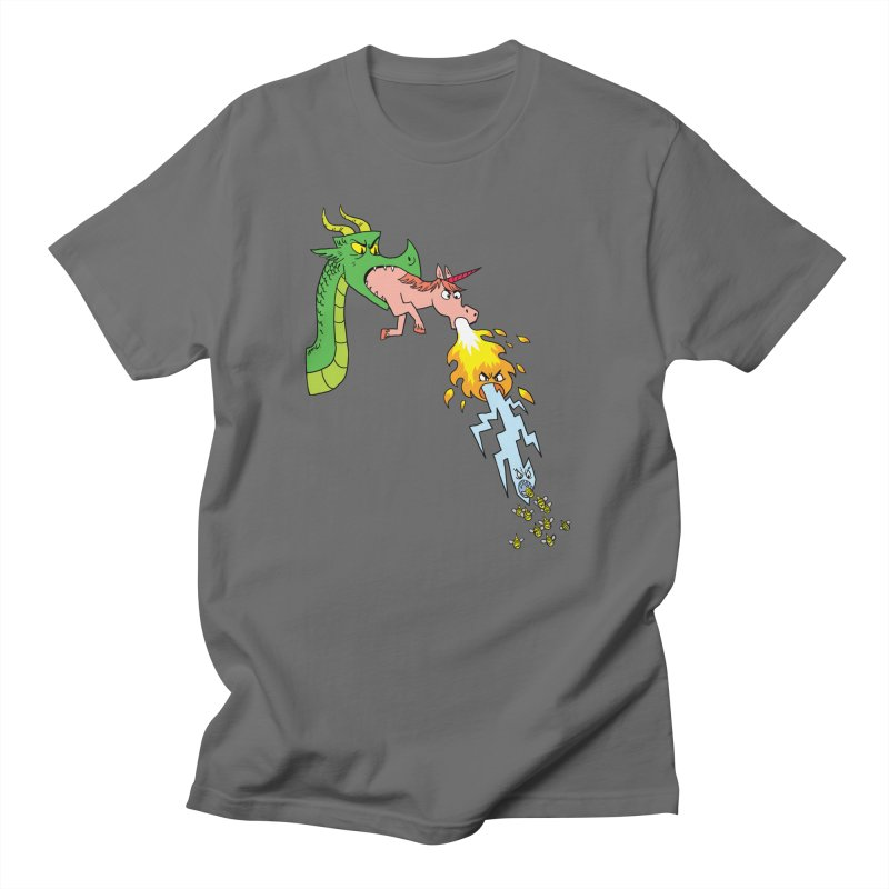 Unicorn-Breathing Dragon Men's T-Shirt by brianmcl's Artist Shop