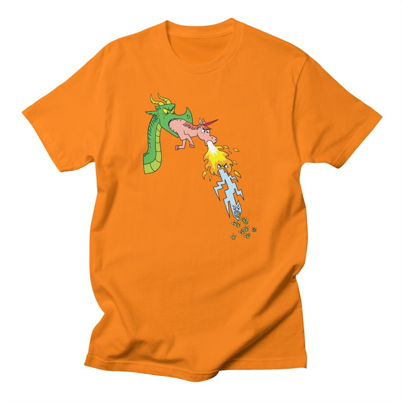 Unicorn-Breathing Dragon Men's Regular T-Shirt by brianmcl's Artist Shop