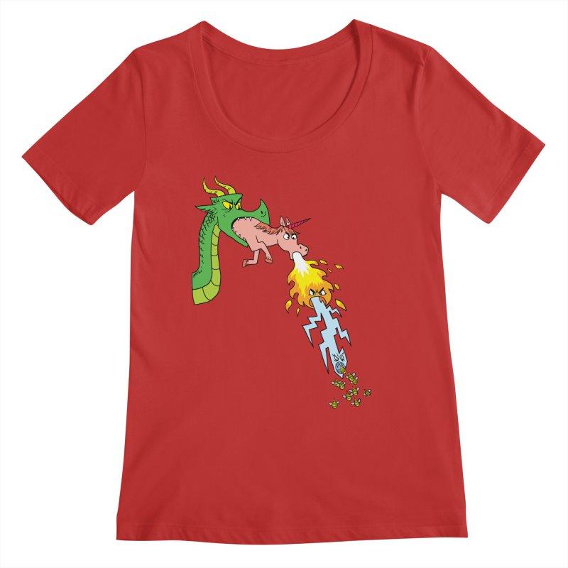 Unicorn-Breathing Dragon Women's Regular Scoop Neck by brianmcl's Artist Shop