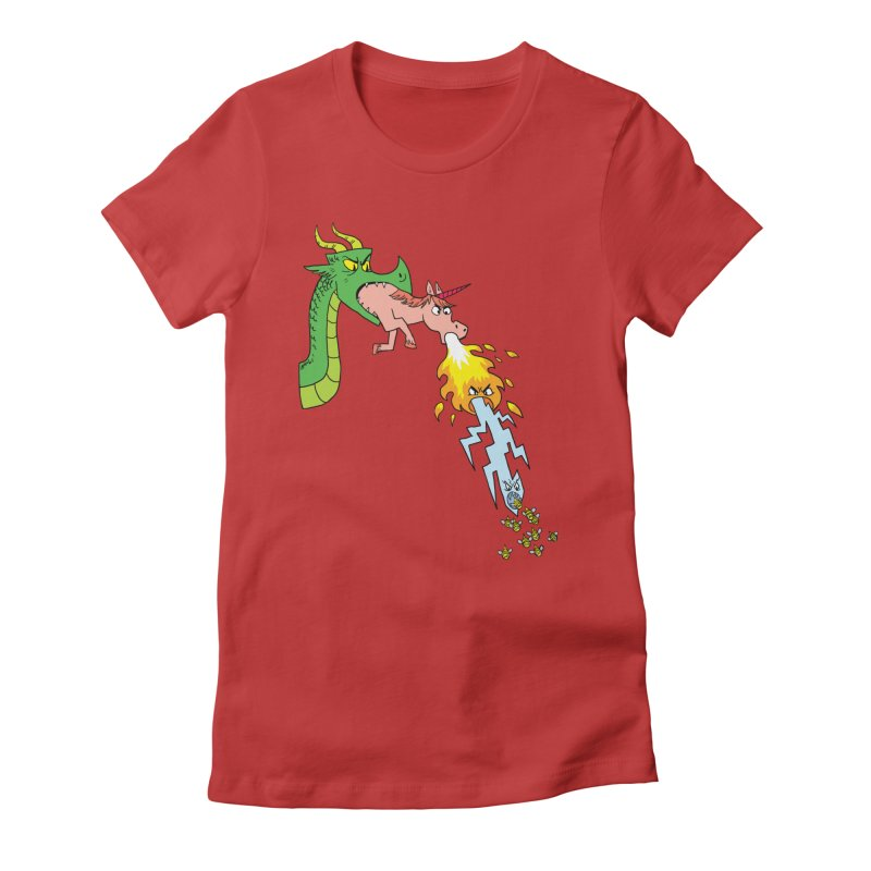 Unicorn-Breathing Dragon Women's Fitted T-Shirt by brianmcl's Artist Shop