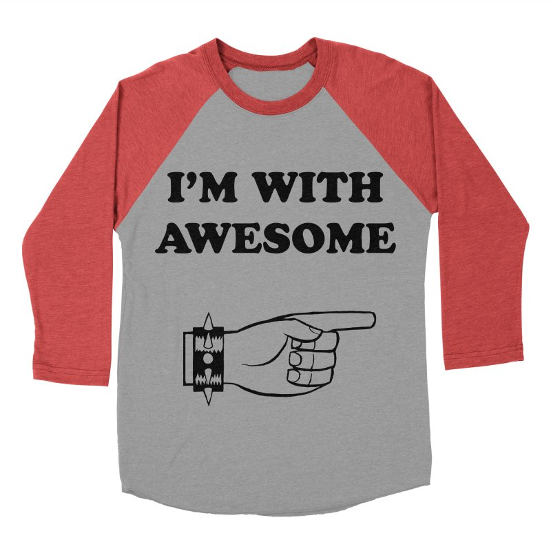 I'm With Awesome Women's Baseball Triblend Longsleeve T-Shirt by brianmcl's Artist Shop