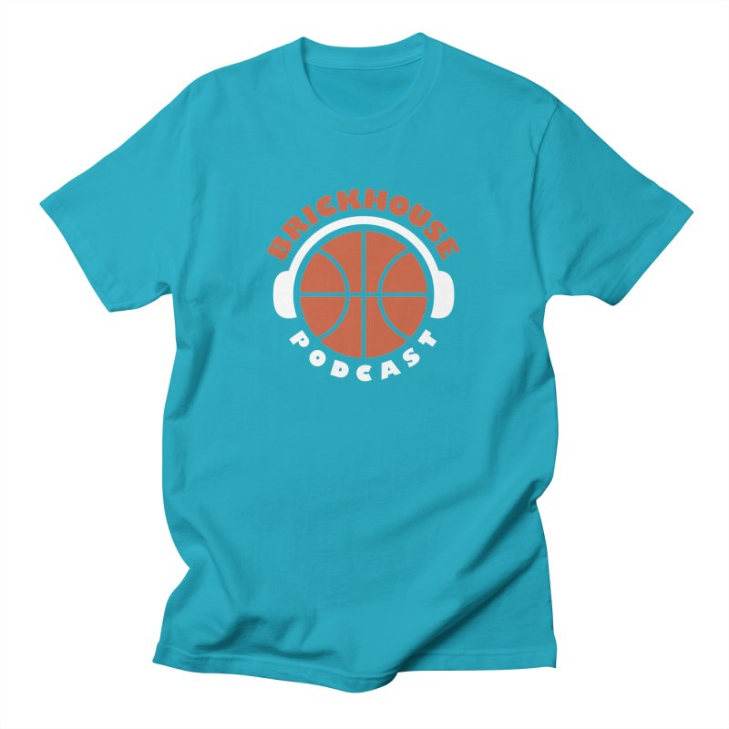 Brickhouse Podcast Logo Apparel (Flat) Orange/White Men's T-Shirt by Brickhouse Podcast Shop