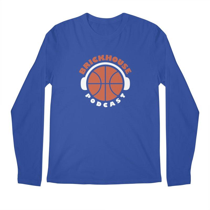 Brickhouse Podcast Logo Apparel (Flat) Orange/White Men's Regular Longsleeve T-Shirt by Brickhouse Podcast Shop