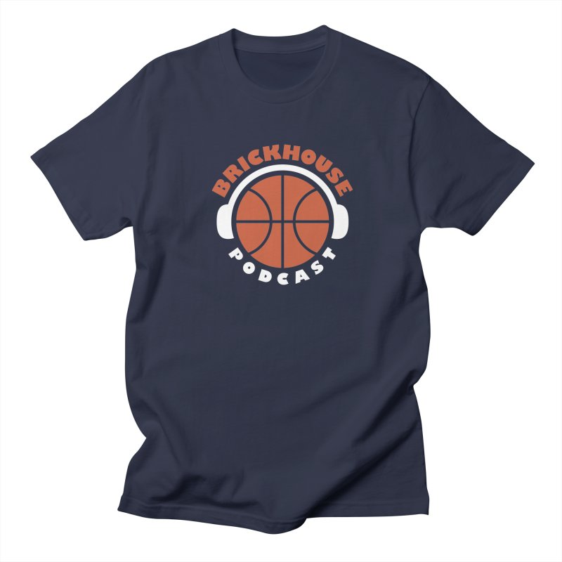 Brickhouse Podcast Logo Apparel (Flat) Orange/White Men's Regular T-Shirt by Brickhouse Podcast Shop