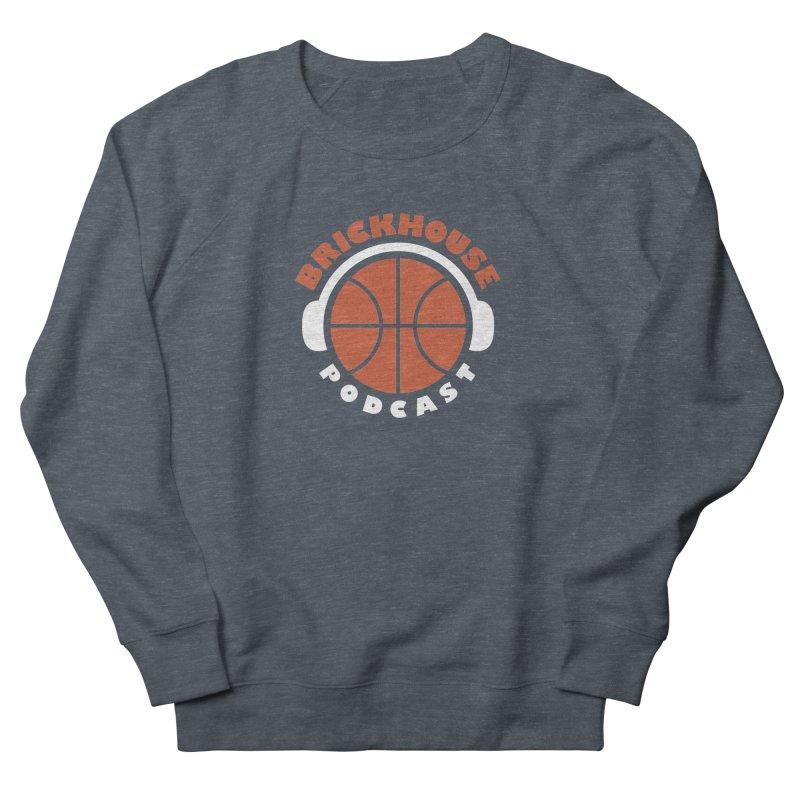 Brickhouse Podcast Logo Apparel (Flat) Orange/White Men's French Terry Sweatshirt by Brickhouse Podcast Shop