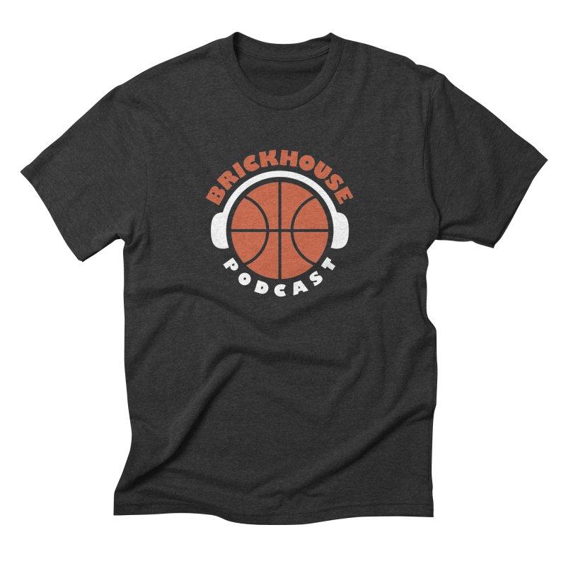 Brickhouse Podcast Logo Apparel (Flat) Orange/White Men's Triblend T-Shirt by Brickhouse Podcast Shop