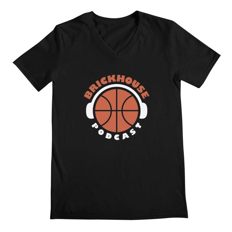 Brickhouse Podcast Logo Apparel (Flat) Orange/White Men's Regular V-Neck by Brickhouse Podcast Shop