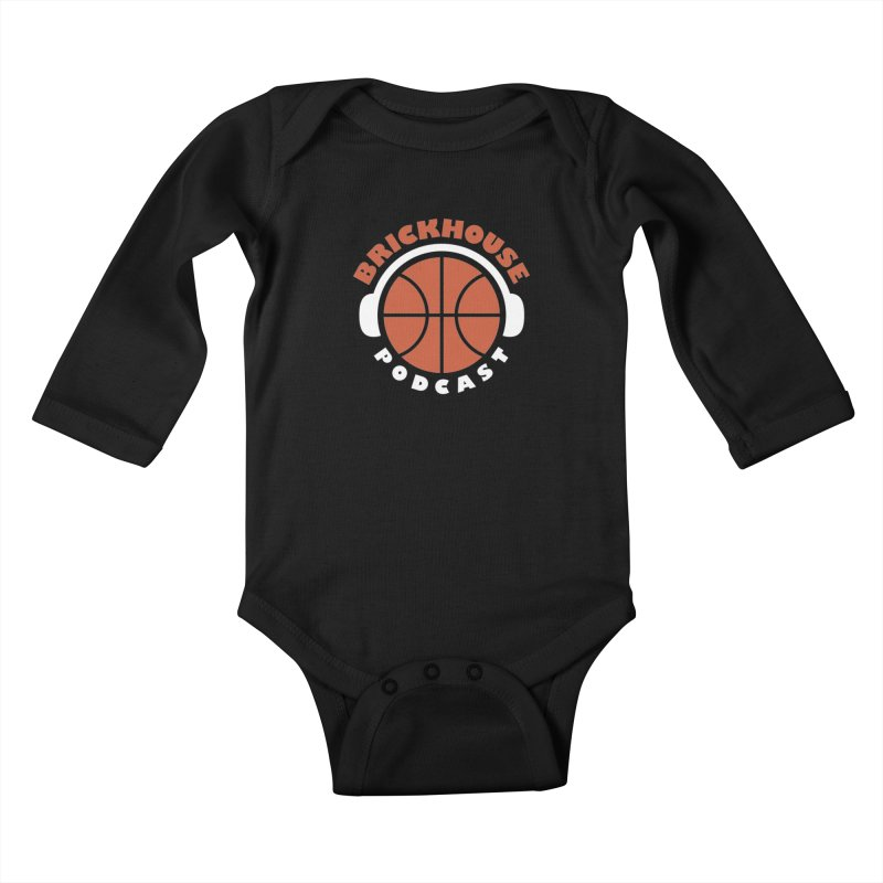 Brickhouse Podcast Logo Apparel (Flat) Orange/White Kids Baby Longsleeve Bodysuit by Brickhouse Podcast Shop
