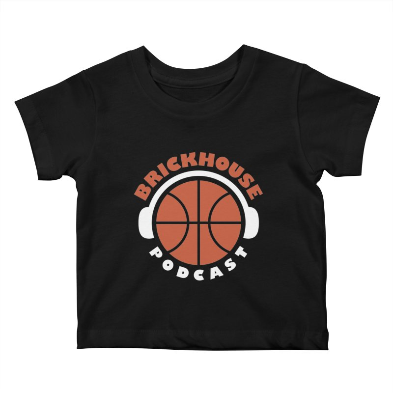 Brickhouse Podcast Logo Apparel (Flat) Orange/White Kids Baby T-Shirt by Brickhouse Podcast Shop