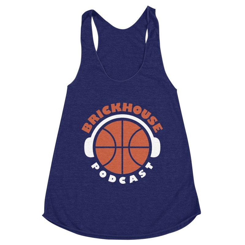 Brickhouse Podcast Logo Apparel (Flat) Orange/White Women's Racerback Triblend Tank by Brickhouse Podcast Shop