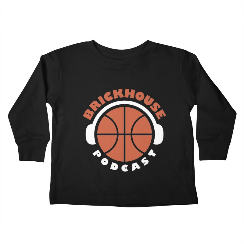Brickhouse Podcast Logo Apparel (Flat) Orange/White Kids Toddler Longsleeve T-Shirt by Brickhouse Podcast Shop