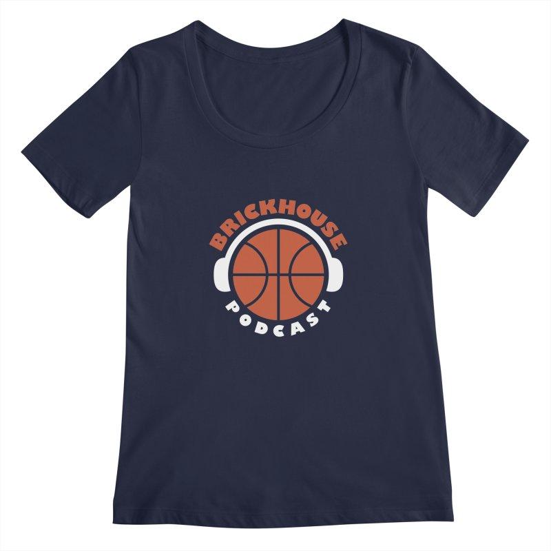 Brickhouse Podcast Logo Apparel (Flat) Orange/White Women's Regular Scoop Neck by Brickhouse Podcast Shop