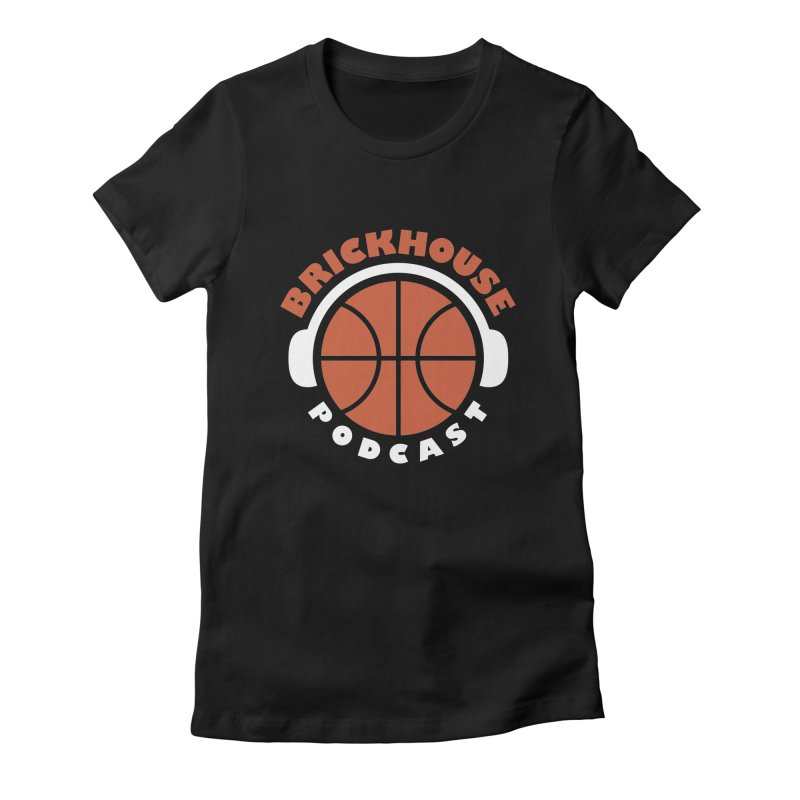 Brickhouse Podcast Logo Apparel (Flat) Orange/White Women's Fitted T-Shirt by Brickhouse Podcast Shop