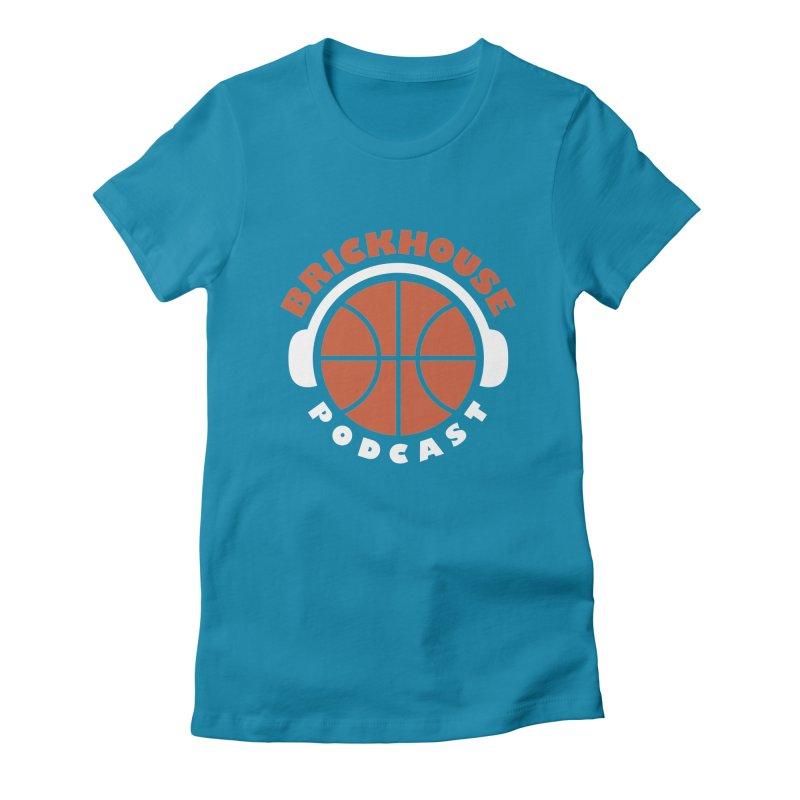 Brickhouse Podcast Logo Apparel (Flat) Orange/White Women's Fitted T-Shirt by Brickhouse Podcast Shop