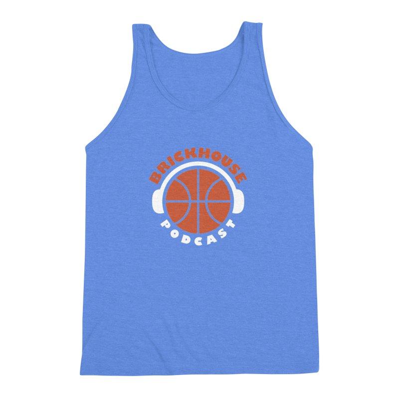 Brickhouse Podcast Logo Apparel (Flat) Orange/White Men's Triblend Tank by Brickhouse Podcast Shop