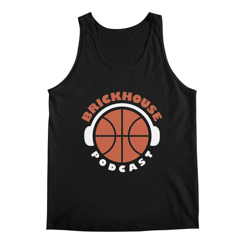 Brickhouse Podcast Logo Apparel (Flat) Orange/White Men's Regular Tank by Brickhouse Podcast Shop