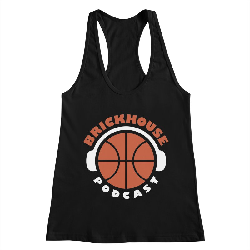 Brickhouse Podcast Logo Apparel (Flat) Orange/White Women's Racerback Tank by Brickhouse Podcast Shop