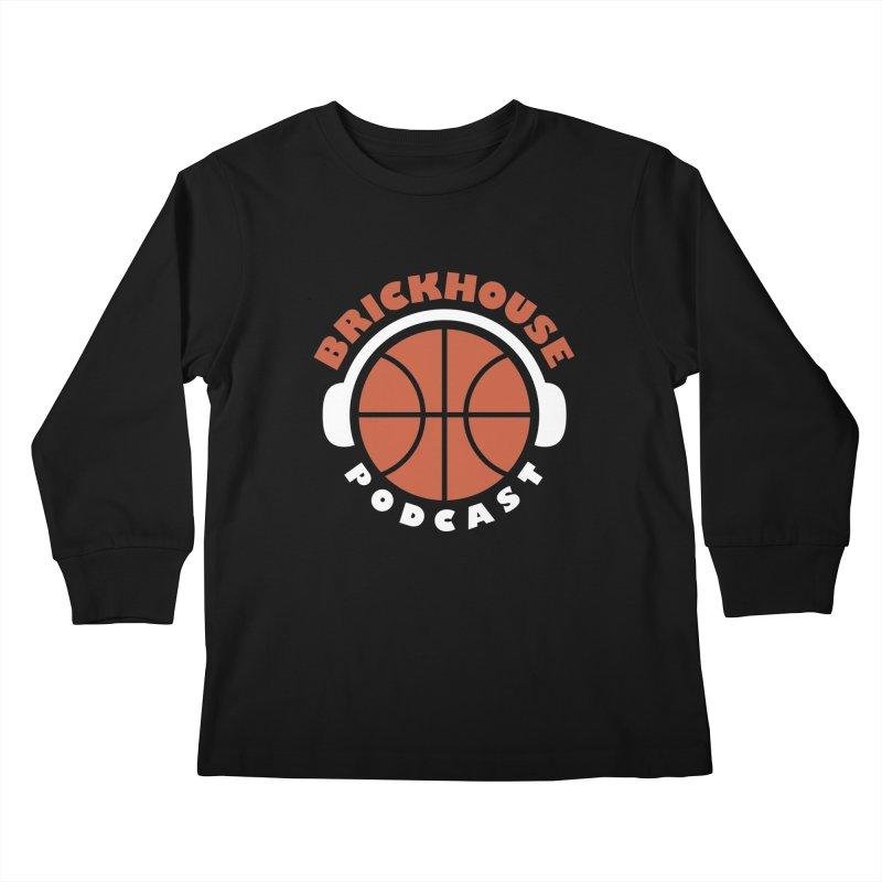 Brickhouse Podcast Logo Apparel (Flat) Orange/White Kids Longsleeve T-Shirt by Brickhouse Podcast Shop