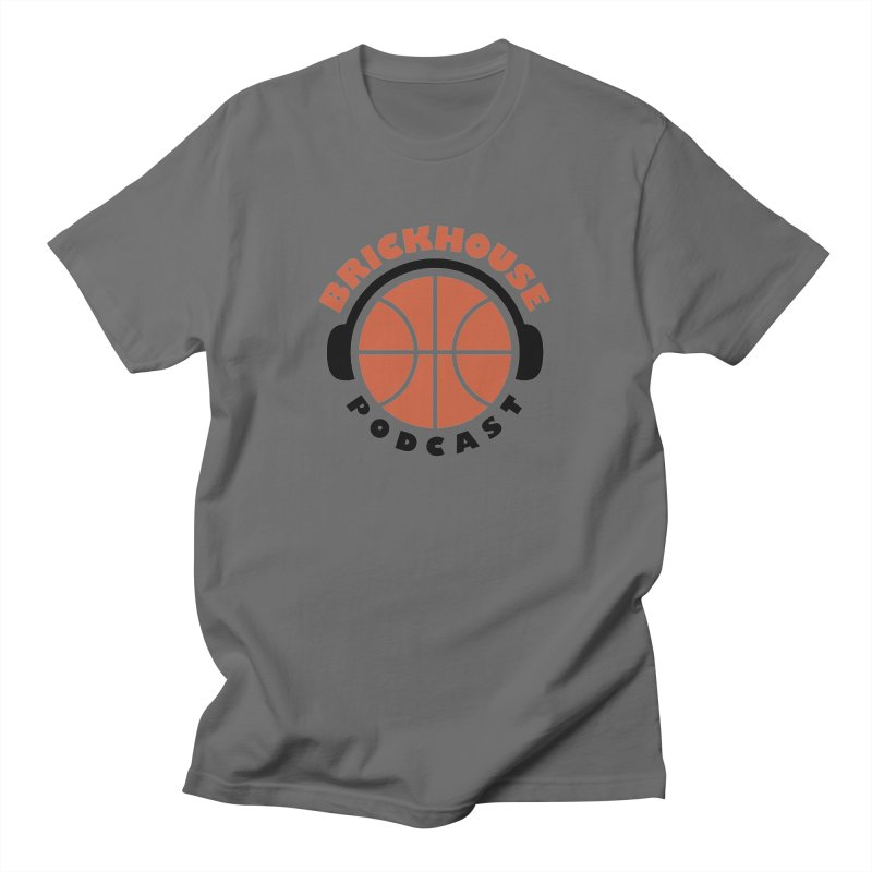 Brickhouse Podcast Logo Apparel (Flat) Orange/Black Men's T-Shirt by Brickhouse Podcast Shop