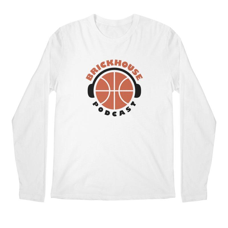 Brickhouse Podcast Logo Apparel (Flat) Orange/Black Men's Regular Longsleeve T-Shirt by Brickhouse Podcast Shop
